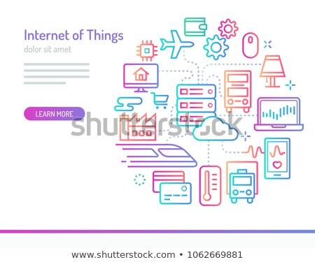 Internet coisas carro linha ícones Foto stock © ConceptCafe