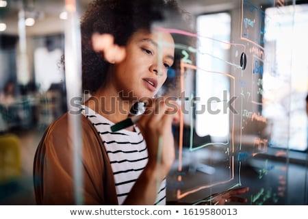Foto stock: Jovem · empresária · escrita · vidro · mulher · reunião