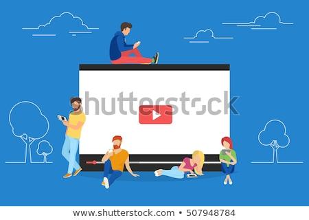 business · woman · Smartphone · Social · Media · Internet · Technologie · Freunde - stock foto © dolgachov