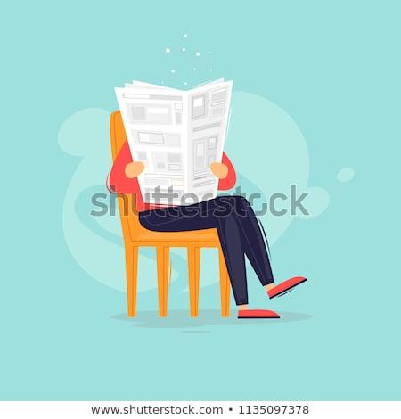 человек мужчины чтение газета интеллектуальный Сток-фото © robuart
