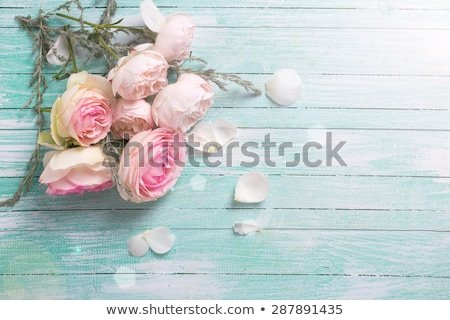 Taze gül çiçekler gri buket tablo Stok fotoğraf © neirfy