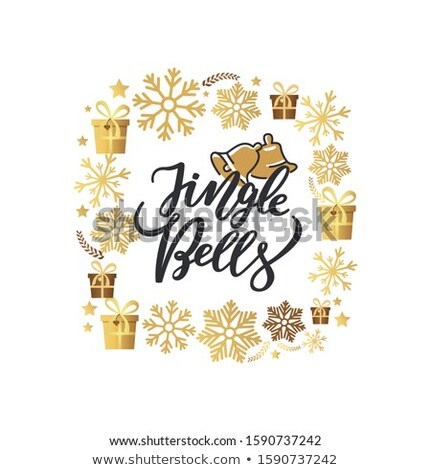 Jingle Bells Lettering Print, Two Holiday Campanes Stock photo © robuart