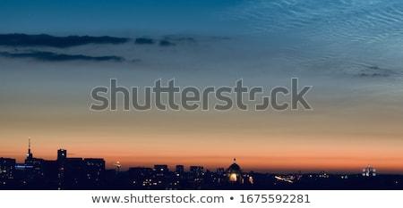 Tájékozódási pont épület naplemente éjszaka Brüsszel Belgium Stock fotó © frimufilms