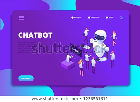 Stock fotó: Robotics developer isometric 3D landing page.
