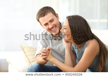 happy young couple man and woman adult romantic family meet the sunset in a wheat field happy smi stock photo © elenabatkova