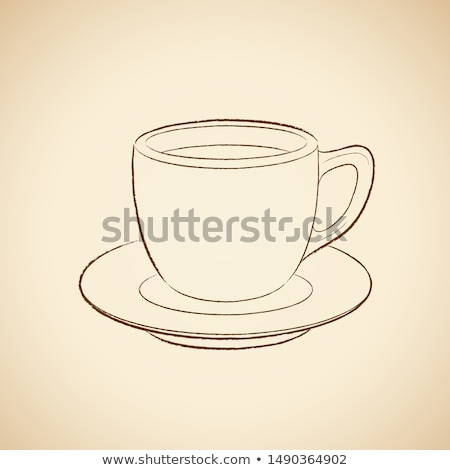 Kömür çizim kahve fincanı ikon bej su Stok fotoğraf © cidepix