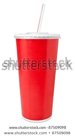 Rojo de comida rápida potable taza paja uno Foto stock © make