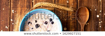 Banner of Oatmeal with currant in blue bowl with spoon Stock photo © Illia