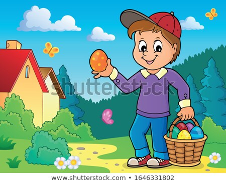 Boy with Easter eggs theme image 4 Stock photo © clairev