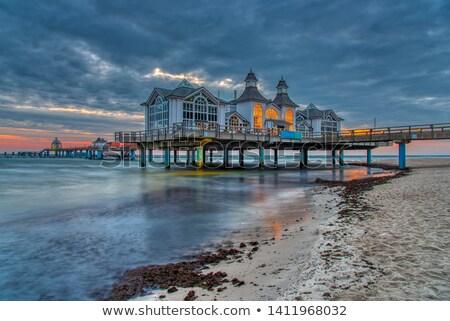 морем пирс ресторан Восход острове Германия Сток-фото © elxeneize