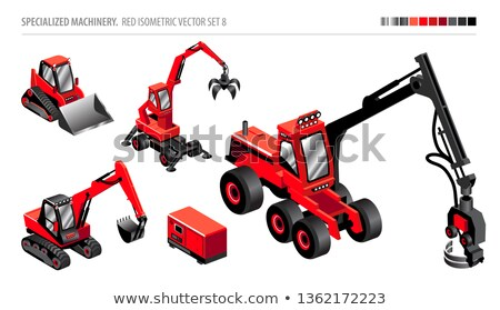 Piros buldózer ikon retró stílus illusztráció kotrógép Stock fotó © patrimonio