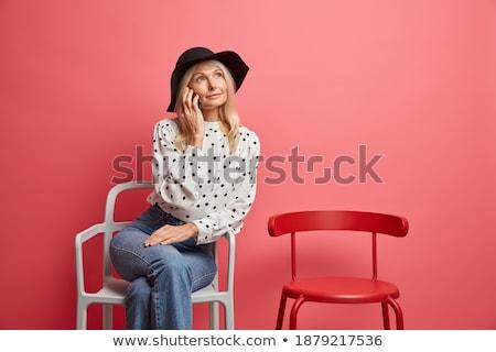 portret · blonde · vrouw · vrouw · glimlach · witte - stockfoto © paha_l