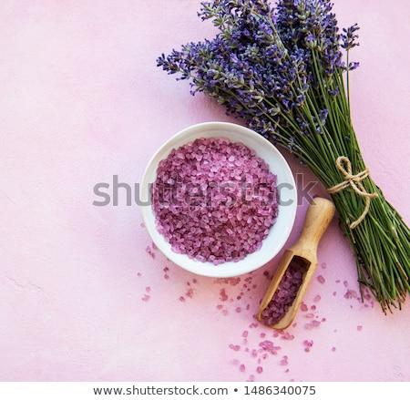 Lavender Flowers And Pink Bath Salts Stock fotó © almaje