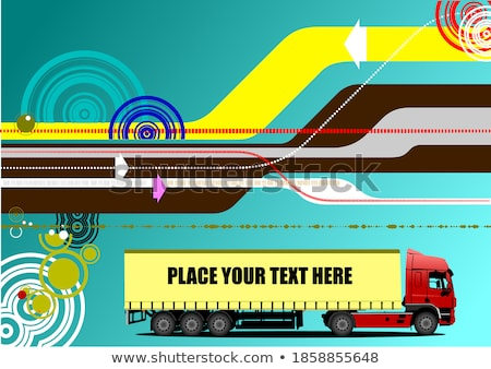 Abstract hi-tech background with lorry image. Vector Stock photo © leonido