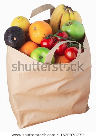 Angled orange paper bag on a white background Stock photo © wavebreak_media