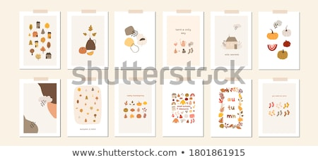 Seasonal autumn postcard, vector illustration Stock photo © carodi