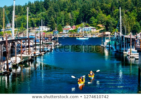 White Red Sailboat Reflection Gig Harbor Washington State Stock photo © billperry