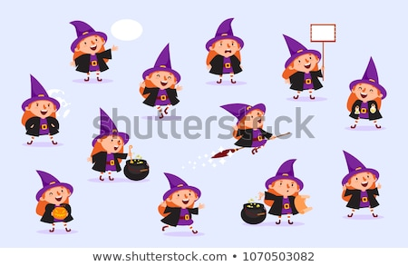 cartoon sorceress  with speech bubble Stock photo © lineartestpilot