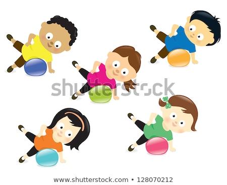 Fitness pilates criança menina exercer Foto stock © lunamarina