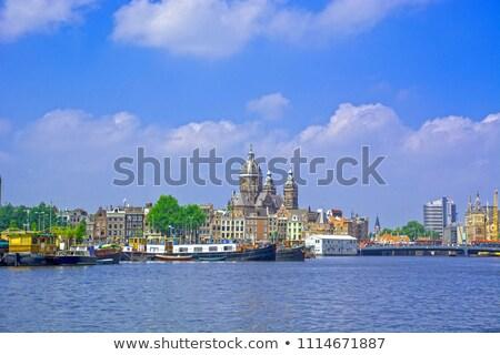bazilika · szent · Amszterdam · éjszaka · utca · templom - stock fotó © andreykr