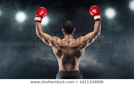 Jovem boxeador boxe preto soprar homem Foto stock © master1305