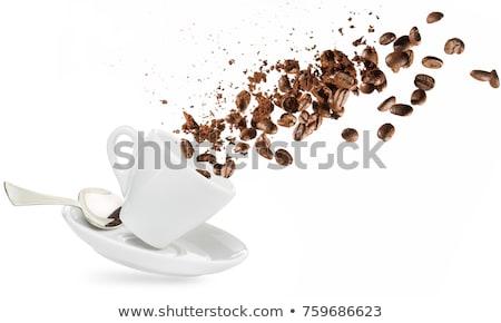 Stockfoto: Koffiekopje · bonen · grond · poeder · steen · top