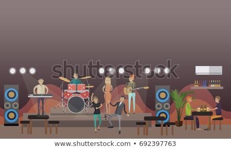 Zanger spelen gitaar mannelijke trommelaar nachtclub Stockfoto © wavebreak_media