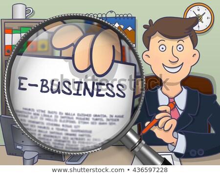 E-Banking through Magnifier. Doodle Style. Stock photo © tashatuvango