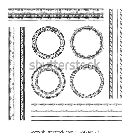 set of round vector frames and borders rope and dotted designs stock photo © pashabo