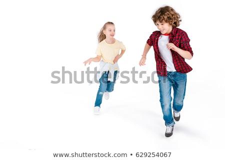 baby · jongen · lopen · geïsoleerd · witte · Blauw - stockfoto © sapegina