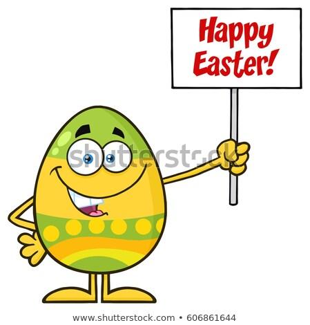 Színes húsvéti tojás rajzfilm kabala karakter tart üres tábla Stock fotó © hittoon