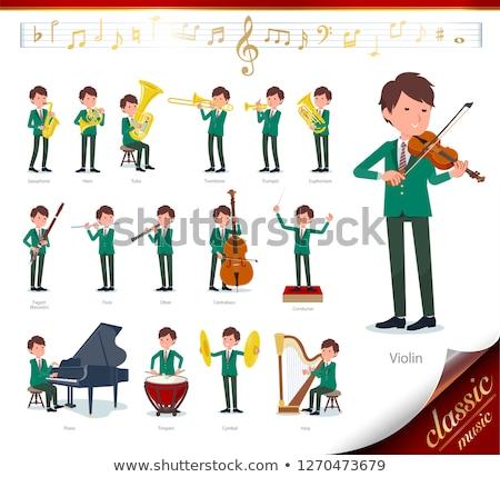 school boy Green Blazer_classic music Stock photo © toyotoyo