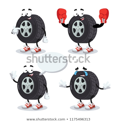 Tire service - modern vector cartoon character illustration Stock photo © Decorwithme