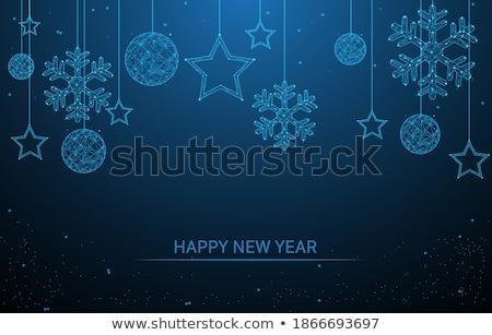 Weihnachten Neujahr blau Spielerei Ornament Banner Stock foto © cienpies