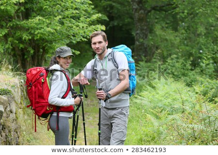 Male Hiker With Hiking Pole Stock photo © AndreyPopov