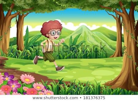 Jonge man lopen jungle illustratie boom man Stockfoto © bluering