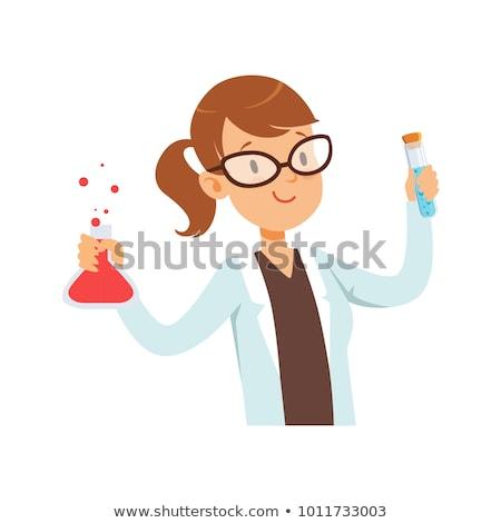 Cartoon souriant scientifique fille Photo stock © cthoman