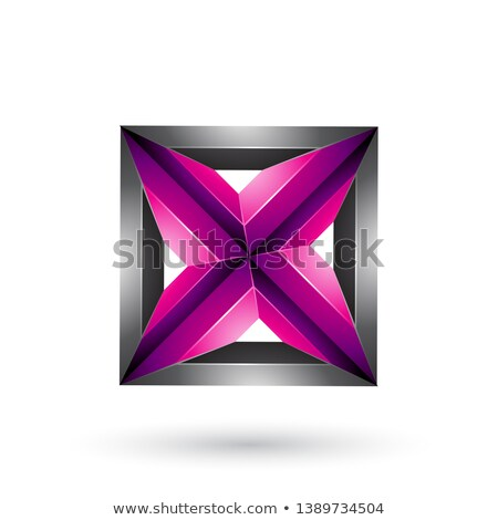 Black and Magenta 3d Geometrical Embossed Square and Triangle Sh Stock photo © cidepix