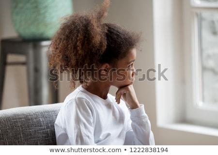 Mooie meisje venster triest kantoor meisje Stockfoto © Lopolo
