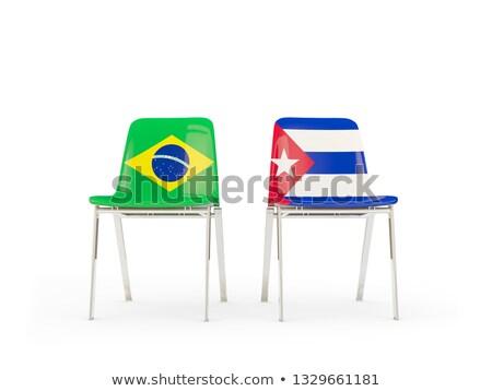 Dwa krzesła flagi Brazylia Kuba odizolowany Zdjęcia stock © MikhailMishchenko