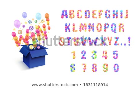 Font design for you win with balloons background Stock photo © colematt