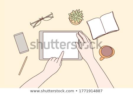 Menselijke hand smartphone werkplek desktop top Stockfoto © jossdiim