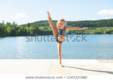 Cute девочку тесные озеро девушки Сток-фото © Lopolo