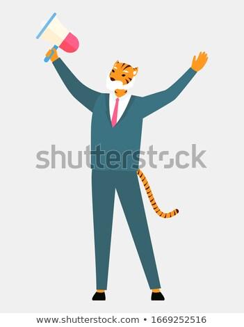 Homme tigre tête queue haut-parleur Photo stock © robuart