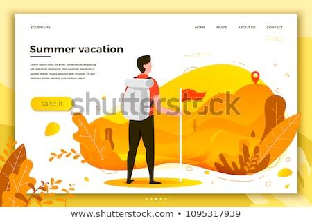 ストックフォト: 夏 · キャンプ · 着陸 · テント · 森林