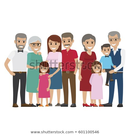 multi generation family colourful photo on white stock photo © robuart