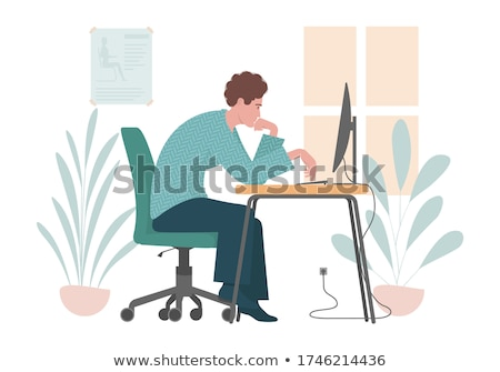 Man sitting at curved monitor Stock photo © jossdiim