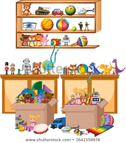 Shelf full of books and toys on white background Stock photo © bluering