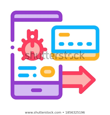Virus on Phone and Credit Card Icon Vector Outline Illustration Stock photo © pikepicture