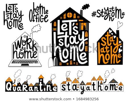 Pobyt domu naklejki zestaw symbol zdrowia Zdjęcia stock © ikopylov